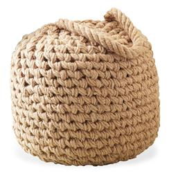 Clippers Bay Coastal Beach Raw Jute Buoy Pouf Ottoman