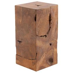 Phillips Collection Rustic Lodge Teak Wood Slice Square Pedestal - Small