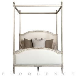 Dauphine French Country Weathered White Linen Upholstered Bed - Canopy Queen