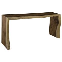 Phillips Collection Waterfall Rustic Lodge Dark Chamcha Wood Console Table