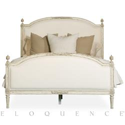 Dauphine French Country Weathered White Linen Upholstered Bed - Queen | ELO-BDRC09Q-WL-WW