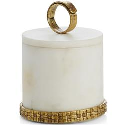 Michael Aram Palm Modern Classic White Marble Cylinder Container