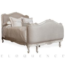 Sophia French Country Antique White Louis XV Upholstered Queen Bed | ELO-BDRC01Q-FL-AW