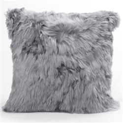 Ava Modern Classic Square Cool Grey Alpaca Fur Decorative Pillow