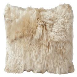 Ava Modern Classic Square Beige Alpaca Fur Decorative Pillow