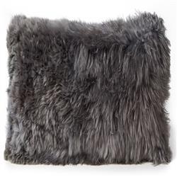 Ava Modern Classic Square Silver Alpaca Fur Decorative Pillow