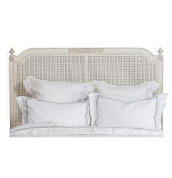 Blanka French Country White Washed Elegant Caned Queen Headboard | ELO-HBRC04Q-PC-AW