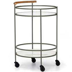 Allen Modern Classic Dark Green Metal Glass Marble Round Bar Cart