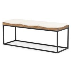 Amanda Industrial Loft White Cushion Wood Iron Bench