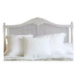 Louis XVI French Country Natural White Painted Cane Headboard - Queen