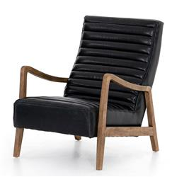 Amani Modern Classic Black Leather Channel Tufted Occasional Arm Chair