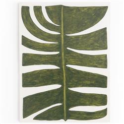 Averie Coastal Beach Green Plantain Leaf Print Maple Wood Wall Art
