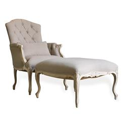 Duchess French Country Bergere Armchair and Ottoman in Gray Linen