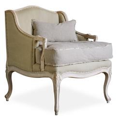 Regency Bergere French Country Arm Chair in Sage Cotton
