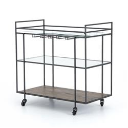 Camron Industrial Loft Brown Mango Wood Glass Metal Bar Cart