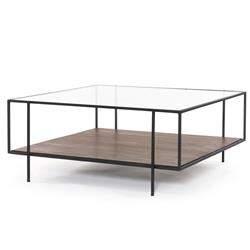 Camron Industrial Loft Brown Mango Wood Glass Metal Coffee Table