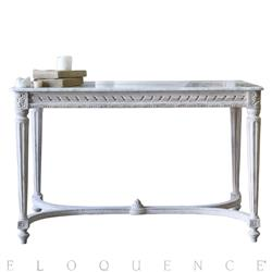 Contessa French Country Distressed White Gold Marble Long Console Table