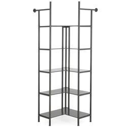 Charlotte Industrial Loft Grey Iron Modular Corner Display Bookcase