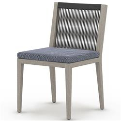 Cheryl Modern Blue Cushion Grey Woven  Wood Outdoor Dining Side Chair