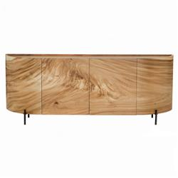 Emely Modern Classic Brown Wood Curved Sideboard Buffet