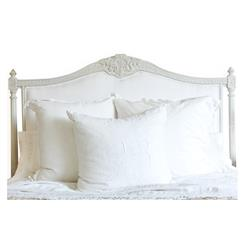 Louis XVI French Country White Cotton Upholstered Headboard - King | ELO-HBR02K-WC-OG