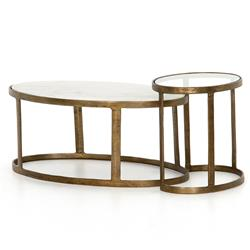 Khari Modern Classic White Marble Glass Top Antique Gold Metal Nesting Oval Coffee Tables