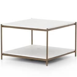 Luna Modern Classic White Marble Top Antique Gold Metal Coffee Table