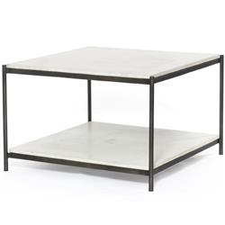 Luna Modern Classic White Marble Top Grey Metal Coffee Table