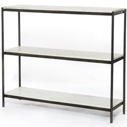 Luna Modern Classic White Marble Top Grey Metal Console Table