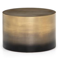 Maddux Modern Classic Antique Gold Ombre Iron Cylinder Round Coffee Table