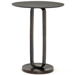 Sam Modern Classic Brown Aluminum Round Side End Table
