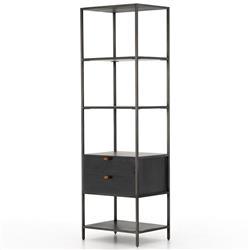 Theodore Industrial Loft Black Wood Iron 2 Drawer Display Bookcase