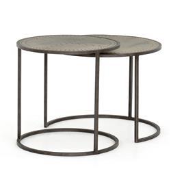 Zaria Modern Classic Grey Metal Nesting Side End Tables