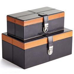 Madeline Modern Classic Navy Blue Leather Rectangular Decorative Box