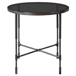 Dominique Industrial Loft Smoke Glass Top Iron Side End Table