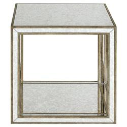 Sonia Hollywood Regency Antique Mirror Antique Gold Framed Side End Table