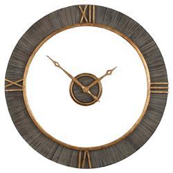 Nathan Modern Classic Antique Gold Fir Wood Wall Clock