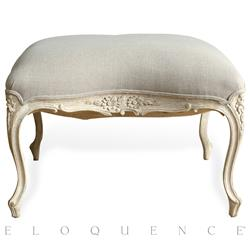 Eloquence® Duchess Ottoman in White Finish and Grey Linen