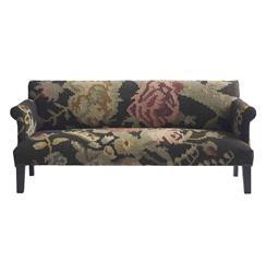 Large Floral Modern Rustic Kilim Dhurry Upholstered Sofa