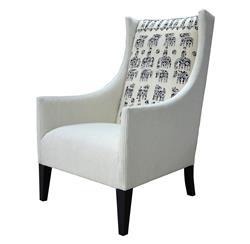 Vintage Suzani Print Black Grey Modern Rustic Arm Chair