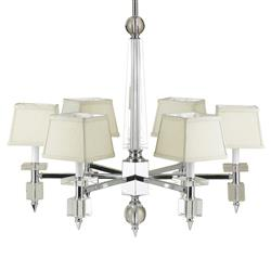 Cluny Modern Hollywood Chrome Crystal 6 Light Chandelier