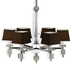 Cluny Modern Hollywood Brown Crystal 6 Light Chandelier