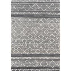 Anaya Modern Classic Grey Hand Woven Geometric Outdoor Patterned Rug - 2' x 3' | Kathy Kuo Home