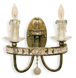 Aris Soft Gold Crystal Hollywood Regency 2 Light Sconce