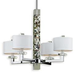 Sahara Coastal Beach Abalone Shell Modern 4 Light Chandelier