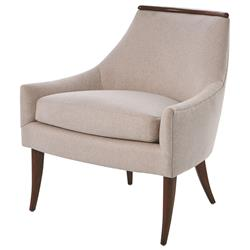 Anya Mid Century Ivory Fleece Upholstered Wood Living Room Chair
