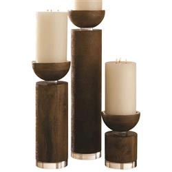 Margaret Modern Classic Brown Wash Wood Acrylic Base Candleholder - Small
