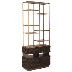 Myra Modern Classic Brown Wood Metal Frame Etagere Bookcase