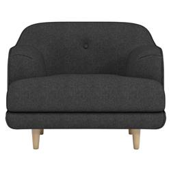 Rove Concepts Aalto Modern Classic Mora Black Upholstered Arm Chair