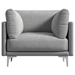 Rove Concepts Anderson Modern Classic Malmo Grey Upholstered Metal Arm Chair